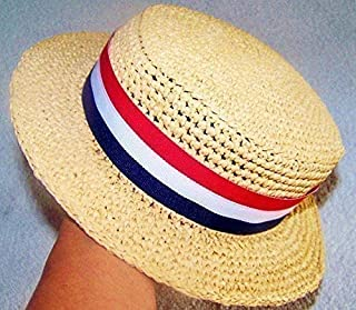 Baby Fedora Hat, Straw Beachcomber, Kentucky Derby Straw Hat, Ricky Ricardo, Mary Poppins, Scarecrow, Tan with Ribbon Red White and Blue