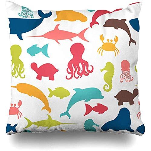 jingqi Fundas de cojín, funda de cojín decorativa, funda de almohada de cangrejo azul, ballena bajo el agua, pulpo, tiburón, acuario, playa acuática, diseño de verano