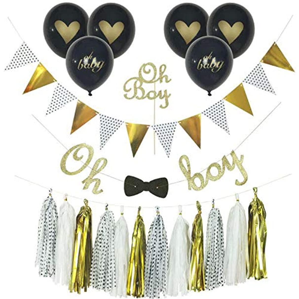 baby boy shower decorations, Little Man Baby Shower, Oh Boy Banner with Bow Tie, Baby is a Brewing, Oh Boy Cake Topper, Oh Baby Balloons, Gold and Black Glitter, Tassels, 1st Birthday boy set
