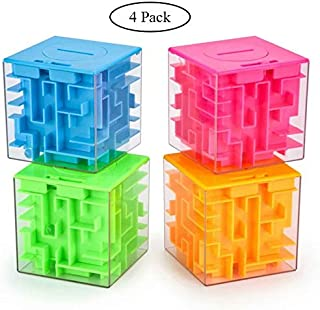 Marstoy Money Maze Puzzle Box, Money Holder Puzzle Gift Money Puzzle Boxes for Kids and Adults Birthday Christmas (4 Pack)