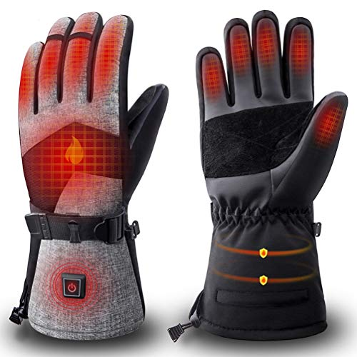 ZEROFIRE Heated Gloves for Men & Women, Rechargeable Electric Heated Winter Ski & Snow Gloves with 3M Thinsulate Touchscreen Synthetic Leather Palm for Skiing, Snowboarding, Hunting & Shoveling Large