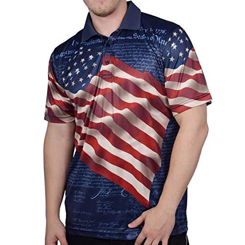Poloshirt, Poloshirt, 100 % Polyester, patriotisches Hemd, amerikanische Flagge, Unabhängigkeitserklärung -  -  Groß