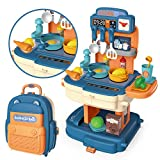 JOYIN Little Kitchen Pretend juego con mochila portátil para niños, utensilios de cocina incluyendo comida de juego, ollas, sartenes, utensilios de cocina y otros accesorios para niñas y niños