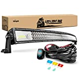 Nilight ZH408 52Inch 783W Curved Triple Row Flood Spot Combo Beam Led Bar 78000LM Driving Lights with 12AWG Heavy Duty 12V 5Pin Rocker Switch Wiring Harness Kit-1 Lead