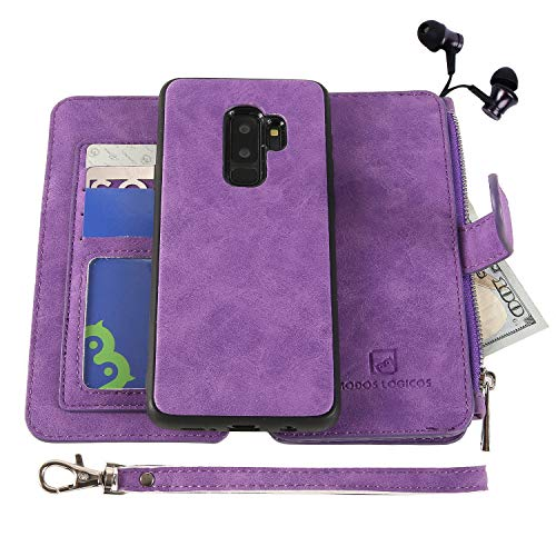 Samsung Galaxy S9 Case, Modos Logicos [Detachable Wallet Folio][2 in 1][Zipper Cash Storage][Up to 14 Card Slots 1 Photo Window] PU Leather Purse Clutch with Removable Inner Magnetic TPU Case - Purple