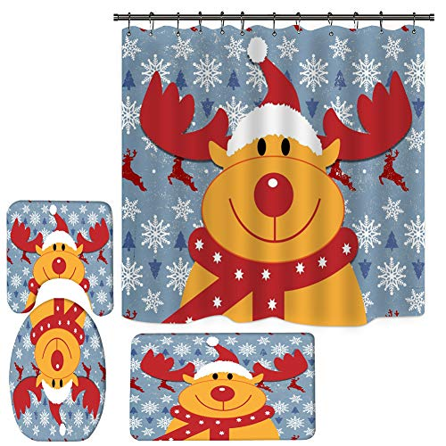 4PCS Elk Shower Curtain Set, Bathroom Shower Curtain Sets with Rugs, Toilet Lid Cover and Bath Mat, Halloween Christmas Xmas Shower Curtain with 12 Hooks (71 Inch x 71 Inch)