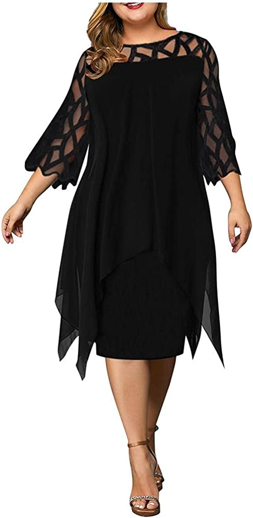 xoxing Womens Dresses Casual Fall Plus Size Solid Color Perspective Mesh Chiffon Hollow Out Crew Neck Long Sleeve Dress