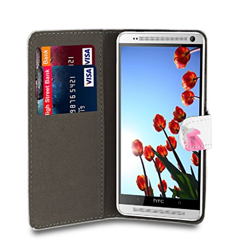 32nd Designer Book Style Faux Leather Wallet Cover for HTC One Max (T6), Bundle Includes Case, Film Screen Protector and Microfibre Cleaning Cloth - Colour Butterfly Design