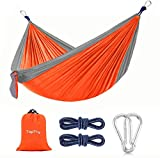 Camping Hammock, Portable Nylon Hammock with 2 Tree Ropes, Lightweight and 660-pound Large