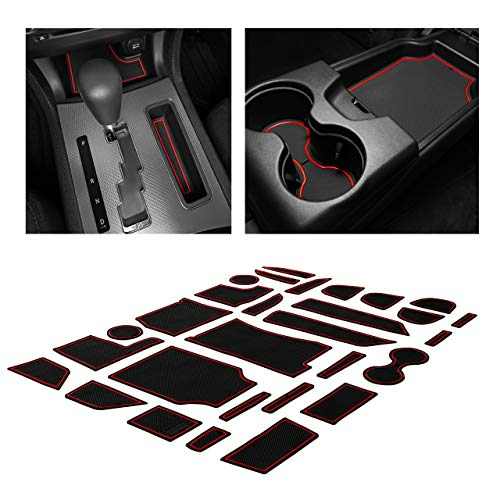 CupHolderHero fits Dodge Charger and fits Chrysler 300 Accessories Interior Non-Slip Anti Dust Cup Holder Inserts, Center Console Liner Mats, Door Pocket Liners 29-pc Set (2011-2014) (Red Trim)