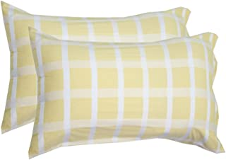 Milano Home Two-Pack Cotton Pillowcases Set Easy to WASH Size 30x19 with Button Closure - Satin Checks Yellow