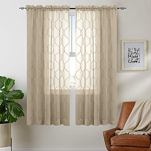 TOPICK 2 cortinas con diseño de ondas, bordadas, cortina con cordón, cortina con ojales, color beige, 140 cm x 145 cm (ancho x alto)