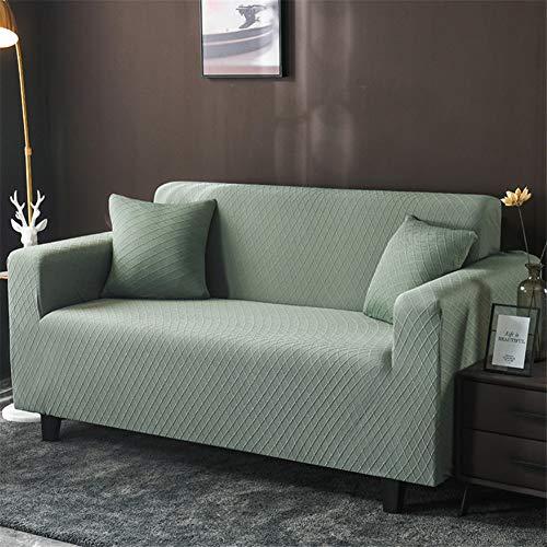 wjwzl Chaiselongue-Sofabezug, elastisch, rutschfest, für Wohnzimmer, Schlafzimmer, Sofa, 1 W, blaues Gitter, (2 Sitze) 145x185cm
