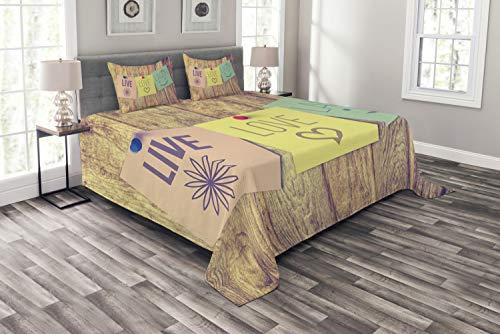 ABAKUHAUS Lebe Lache Liebe Tagesdecke Set, Post-It Perks, Set mit Kissenbezügen luftdurchlässig, für Doppelbetten 220 x 220 cm, Multicolor
