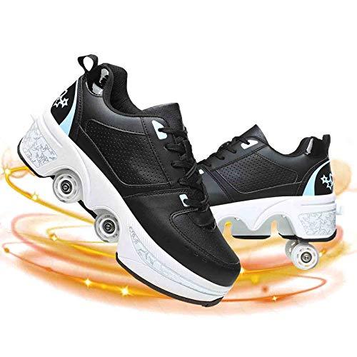LMHX Patines De Ruedas Ajustables Multifuncional Deformado Zapatos Caminar Cuatro Runaway Adecuados para Adultos Y Niños Casual Hielo Polea Zapatos