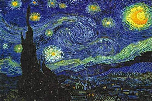 YANGSANJIN Jigsaw Puzzle Piezas 1000 en Adultos y nios, Mundo Famoso Cuadro Pesca Estrellada de Van Gogh Girasol Puerto Pintura al leo de DIY Hecho a Mano