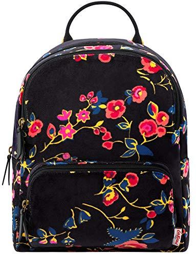 Cath Kidston Millfield Rose Small Velvet Backpack In Charcoal