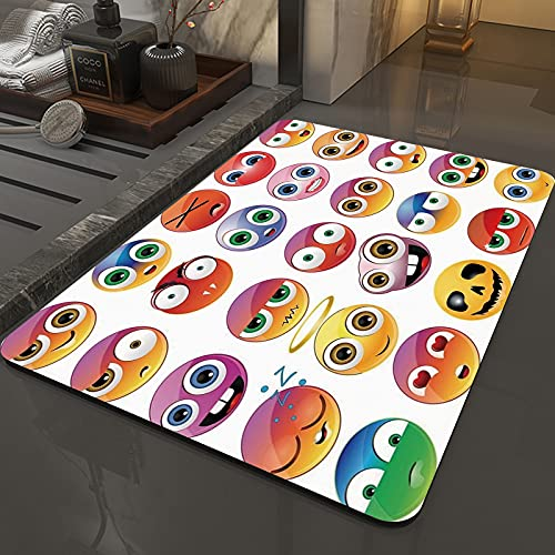Rutschfeste Badteppiche 50 x 80 cm,Emoji, Regenbogenfarbener Cartoon wie Sm,Maschinenwaschbare Badematte, Badvorleger mit Wasserabsorbierenden, Weichen Mikrofasern für Badewanne, Dusche und Badezimmer