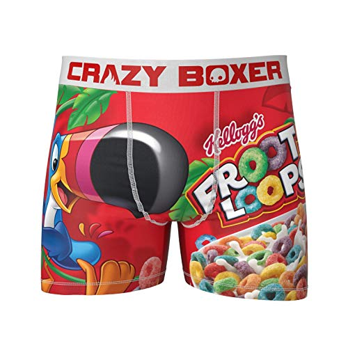 Men's Crazy Boxers Froot Loops Red/White Boxer Briefs - L