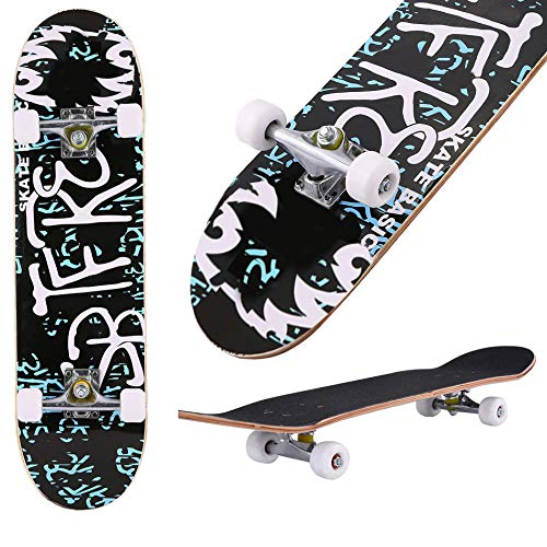 "Aceshin Skateboard, 31"" x 8"" Complete PRO Skateboard, 9 Layer Canadian Maple Wood Double Kick Tricks Skate Board Concave Design for Beginner,Gift for Kids Boys Girls Youths (6 - Letter)"
