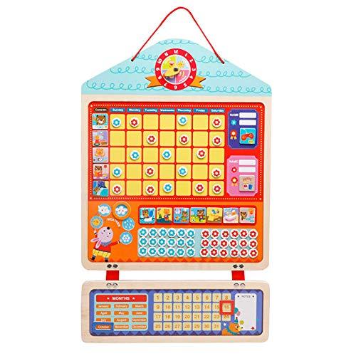 Tableau de récompense magnétique pour enfants pour apprendre les règles, routine quotidienne, 42 fleurs magnétiques et 1 marqueur effaçable à sec, 12 corvées magnétiques, Bois, 24x15Inch