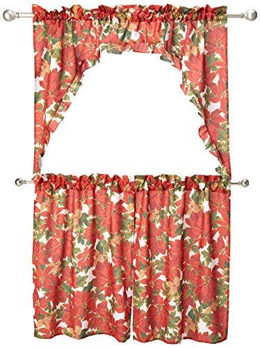 Violet Linen European Seasonal Botanical Decorative Christmas Printed 3 Piece Kitchen Curtain Set