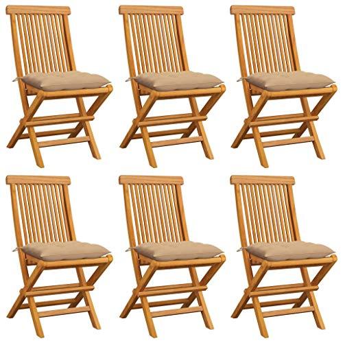 vidaXL 6X Teak Massiv Gartenstuhl mit Beige Kissen Klappstuhl Holzstuhl Gartenmöbel Stuhl Stühle Balkonstuhl Terrassenstuhl Essstuhl