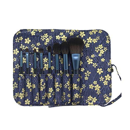 Beaupretty 8pcs maquillage pinceaux fibre artificielle pinceaux cosmétiques kit poignée en bois fondation brosses avec sac