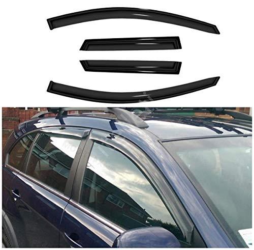 itelleti 4pcs Outside Mount Dark Smoke Sun/Rain Guard Front+Rear Tape-On Auto Window Visors For 08-15 Chevy Captiva Sport