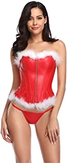 Women Christmas White Feathers Corsets Miss Santa Bustier Corselet Overbust Corset Sexy Lingerie Halloween Costume Cosplay