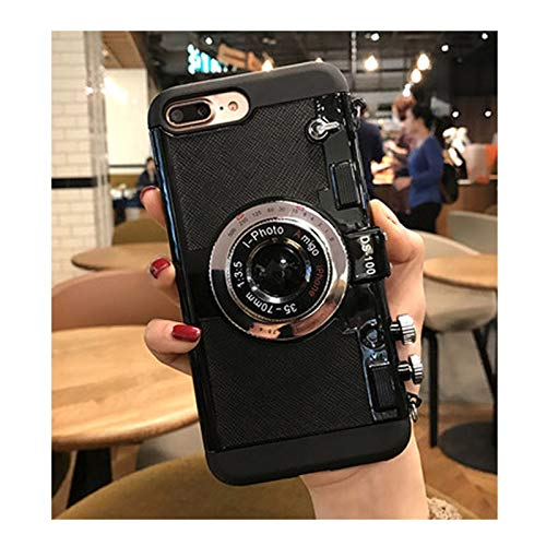 HULIJUAN Emily in Paris Phone Case Vintage Camera, Modern 3D Vintage Style Camera Design Silicone Case Cover with Long Strap Rope A IP 11PRO