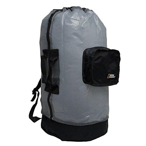 National Geographic Sac à dos de plongée avec tuba en maille de luxe 5 poches, Clam Shell Back Pack 5 Pocket -YL /BK, Bleu sarcelle/noir.