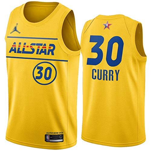 WAIY Stephen Curry # 30 Golden State Warriors 2021 New All-Star Basketball Jersey, Men's Basketball Fan Jersey Profession Profession Product Product Product PRODUCTOR per Yellow-L