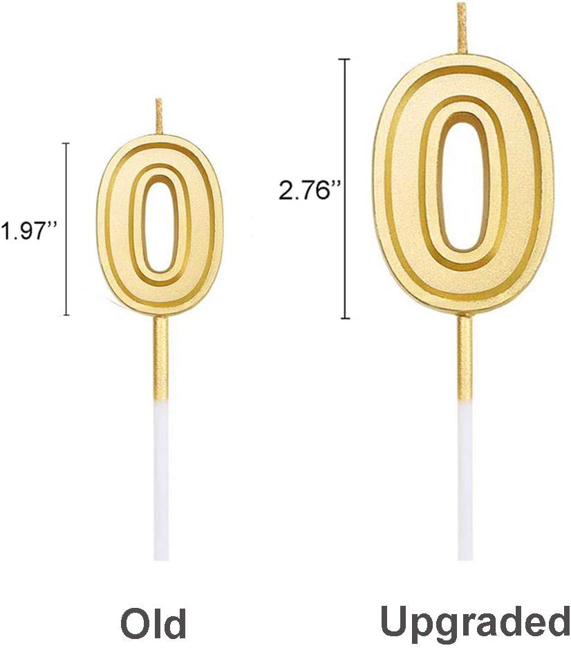 Pink 0 2.76 Large Extended XXL Multi-Color Gold Glitter Happy Birthday Long Numbers 0 Candles Cake Topper Decoration for Adults//Kids Party Wedding