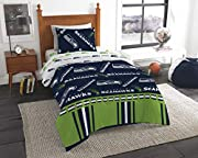 """Features a repeating print of team name and logos on the comforter and pillowcase, on a team-colored background Set comes with 1 comforter, 1 flat sheet, 1 fitted sheet and 1 pillowcase Comforter measures 64""""W x 86""""L; Flat Sheet measures 66""""W x 96""""L;..."""