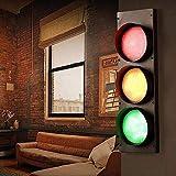 Akboy Semaforo LED Lampada da Parete Interno Con Interruttore Applique da Parete Moderno Rosso Verde Giallo Tricolore Realizzato in Ferro e Vetro Illuminazioni per Pareti Spia per Corridoio Bar