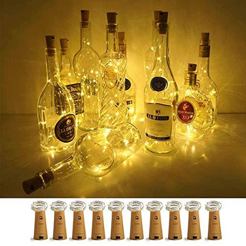 10 Stück LED Flaschenlicht, LED Korken Flaschenlichterkette, 2 M 20 LED Lichterkette Dekolicht mit Batterien für DIY Deko Weihnachten Party Urlaub Hochzeit Stimmungslichter