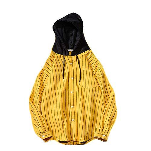 NOBRAND Kapuzenbluse vertikal gestreift Shirt Bluse Damen Herren Frühling Herbst Mode Outwear Rot Schwarz Gelb Hoody Bluse Gr. XXX-Large, gelb