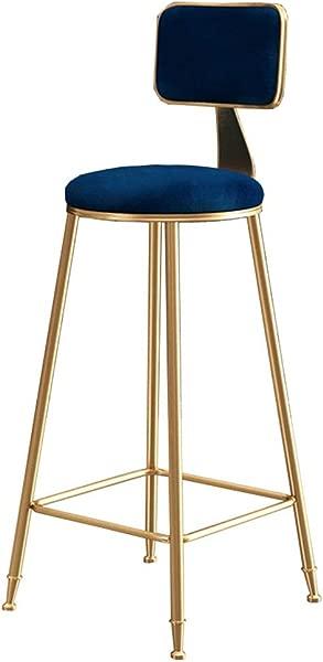 LJFYXZ Bar Stool Modern Simplicity Bar Chair Golden Metal Legs Kitchen Bar Breakfast Chair Blue Velvet High Stool Bearing Weight 200kg Size 65cm