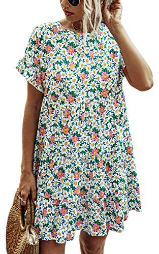 Spec4Y Damen Tunika Kleid Polka Dot Blumen Sommerkleid Kurzarm Rüschenärmel Babydoll T-Shirt Kleider Lose Plissee Minikleid 2008 Blau Small