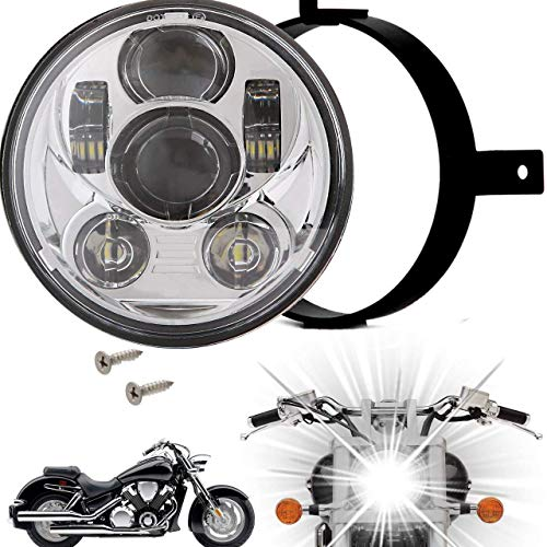 Eagle Lights 5.75 inch LED Motorcycle Headlight Kit for Honda VTX with Bracket and Hardware - Plug and Play (Chrome Generation III) fits 2002-2008 VTX 1800, VTX 1300
