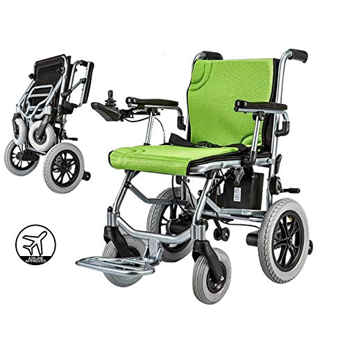 SYN-GUGAI Electric Wheelchairs For Motorised Folding Lightweight Deluxe Aluminium 14Kg Mobile Lithium Battery Suitable For Electric Wheelchairs For The Elderly And Disabled, Dual Control,A