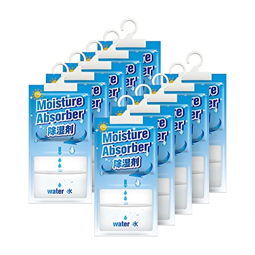 Kloudi moisture absorber, humidity packs, 10 Pack Portable Hanging Dehumidifier Bags for Closet and Enclosed Space, Fragrance Free, Eliminate Unpleasant Smell