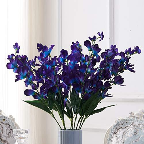 CarlitaDecor 27'' Galaxy Orchid Purple Blue Orchids Artificial Flowers Turquoise Orchids for Bridal Bouquet Corsage Boutonniere Wreath Table Centerpiece Dcor 10pcs