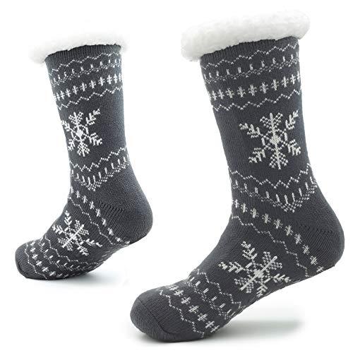 Gebreide Slipper Sokken voor Mannen met Sherpa Wollen Laag Bed Slippers voor Man Niet Slip Noors Patroon 8-11
