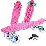 Caroma Skateboard Completo para Principiantes, 22 Pulgadas Monopatín Retro Mini Cruiser con Ruedas...