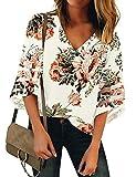 LookbookStore Women's V Neck Floral Print Mesh Panel Blouse 3/4 Bell Sleeve Loose Summer Top Shirt Ivory Size Medium