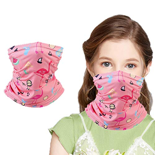 Kids Summer Protection Bandana Face Cover Neck Gaiter, Mask Half Face Balaclava for Girls Boys Children Gift, Reusable Breathable Washable Infinity scarf for Hiking Travel Cycling Flamingo