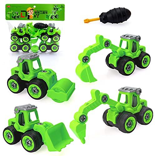 Sinwind Excavadora Juguete para Niño Chico Niña 2 3 4 5 Años, Mini Desmontar y Ensamblarde Juguete de Vehículo de Construccion de Truck de Retroexcavadora de Tractor de Excavadora de Playa (Ve