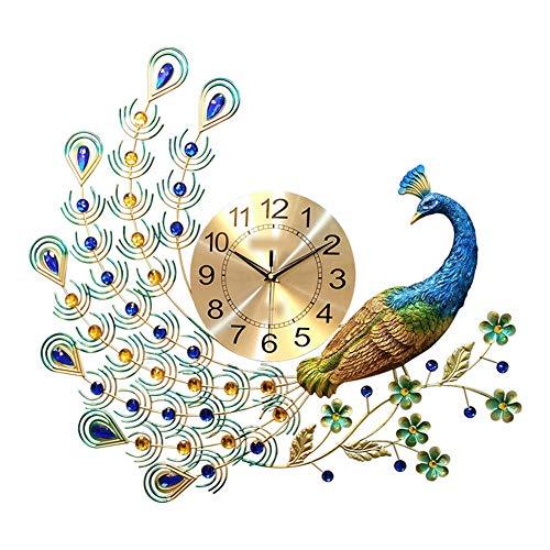 MCJL Relógios modernos de decoração para casa, relógios de parede de pavão simples e criativos, relógios de quartzo silencioso estilo europeu, luxuosos e ricos para sala de estar